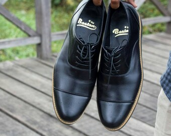 9d8898a3b4643 Genuine Leather Black Shoes for Casual Boston Galia Black | Etsy