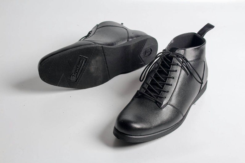 5853f69b49c67 Black Leather Boots for Man Boston Duxburry Handmade, Sneakers Leather,  Sneakers Men's, Sneakers Leather Men's, Shoes Men, Men's Shoes