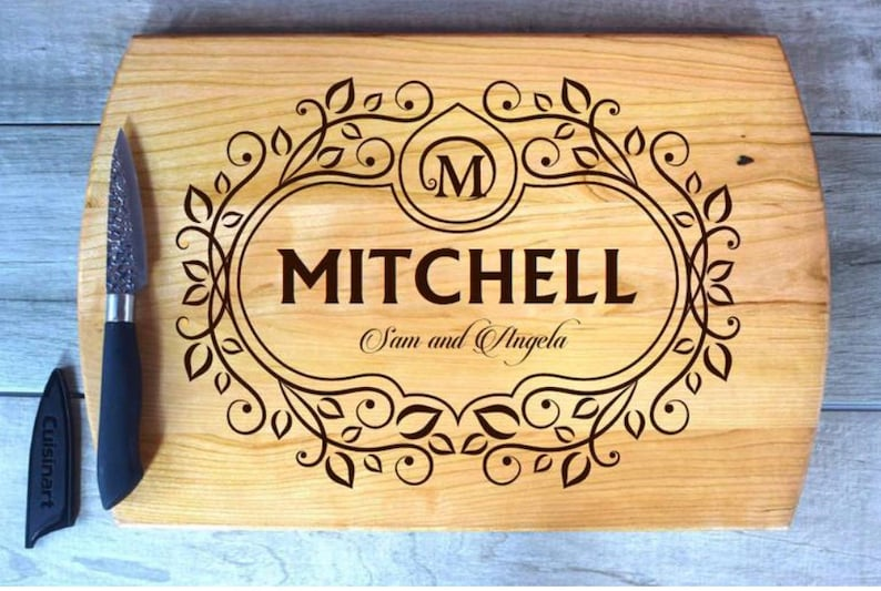 Laser Engraved Cherry Wood Large Rounded Sides w Juice Groove Cutting Board