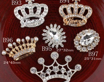 Vintage crown oval flower Metal Rhinestone Buttons Bling Flatback Flower  Centre Crystal Buttons for Hair accessories b849ca982810