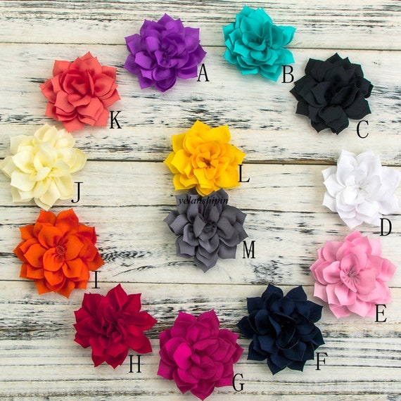 Free Shipping 3.4 13Colors Double-Layer Lotus Flowers For Kids Hair Accessories Winter Fabric Flowers For Headbands
