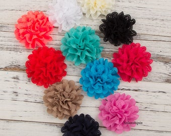 """4"""" Artificial Fabric Flowers For Girls Dresses Fluffy Eyelet Fabric Flowers For Headbands Hair Accessories For Hair Ties Clips"""