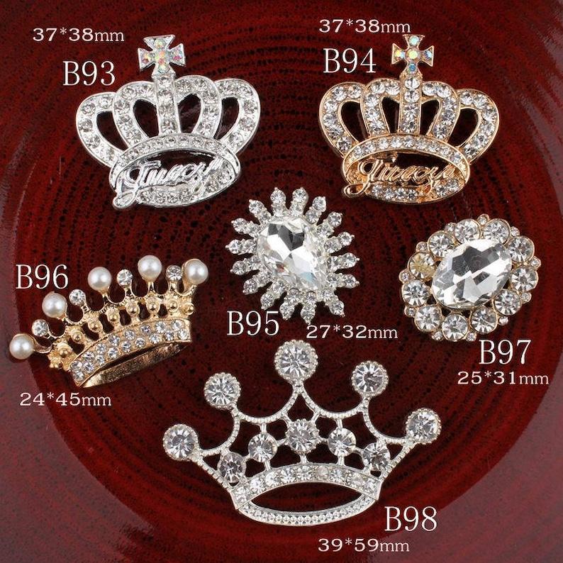 Vintage crown oval flower Metal Rhinestone Buttons Bling  b4871c3493c0