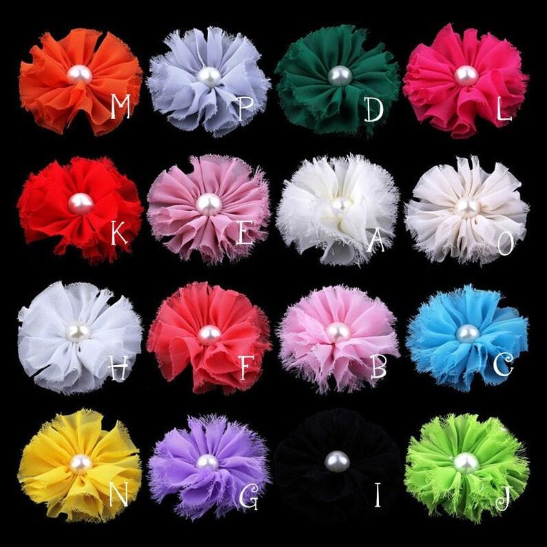 Chiffon Flower Rhinestone Fabric Flower For Hair Accessories 10 pcs Shabby Flower