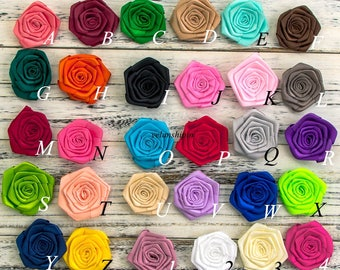 """2.4"""" 20colors Ruffled Satin Ribbon Rolled Rose Flower For Baby Girls Hair Clips Accessories Artificial Fabric Flowers For Headbands"""