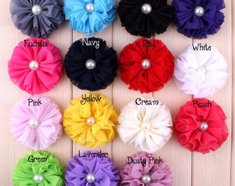 Ballerina Chiffon Flower With Pearl For Girls Hair Accessories Artificial Fabric Flowers For Headbands Diy Headband Flower Supplies 6.5cm