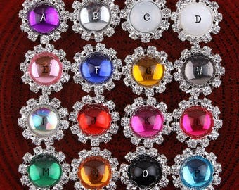 20MM 16 Transparent Colors Metal Crystal Wedding Flatback Buttons Clear Alloy Rhinestone Buttons for Hair Accessories