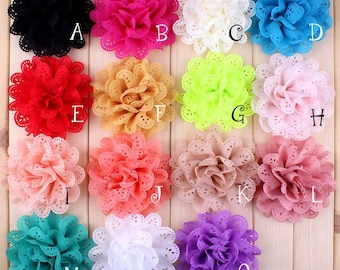 10cm 20Colors Fashion Hollow Out Blossom Eyelet Hair Flowers Soft Chic Artificial Fabric Flowers For Baby Headbands