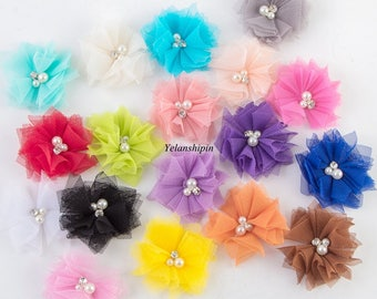 Free Shipping DIY Soft Chic Mesh Hair Flowers With Rhinestones+Pearls Artificial Fabric Flowers For Baby Headbands Supplies Wholesale 6.5cm