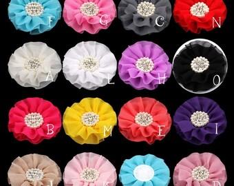 "Big Chiffon Flower+Rhinestone Pearl Button For Hair Accessories Artificial Fabric Flowers For Headbands Diy Flower Supplies 4"""