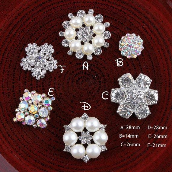 10x Flower Crystal Flatback Buttons Embellishment for DIY Phone Case 25mm