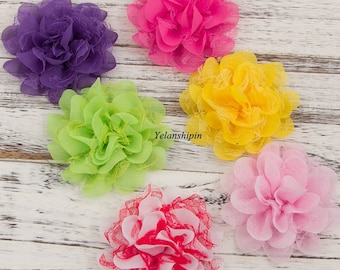 """Artificial Fabric Flowers For Headbands Chic Shabby Chiffon Lace Flowers For Mesh Hair Accessories Diy Flower Supplies 4.5"""""""