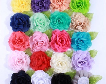 8.5CM Big Beauty Green Leaf Chiffon Flowers For Hair Clips Petals Poppy Fabric Flower For Hair Accessories You pick Color