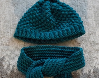 Teal Hat and Scarf