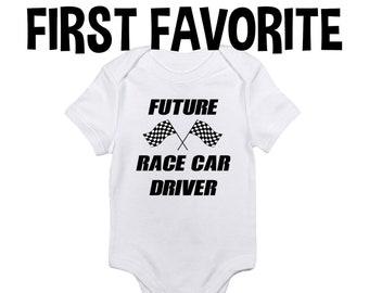 25db39a1f Future Race Car Driver Baby Onesie Bodysuit Shirt Racing Cars Shower Gift  Pregnancy Announcement Take Home Infant Newborn Clothes Outfit