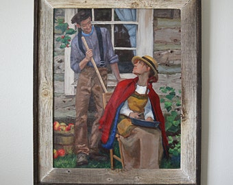 """24"""" x 36"""" Framed Original Oil Fine Art Gallery Portrait Painting of a Couple Peeling Apples and Looking at Each Other"""