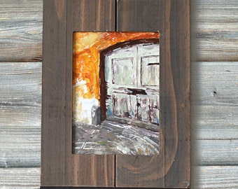"""5"""" x 7"""" Framed Original Oil Fine Art Gallery Painting of the a Mint Door in Switzerland with an Orange Background"""