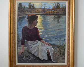 """24"""" x 36"""" Framed Original Oil Fine Art Gallery Portrait Painting of a Girl Sitting by a Lake with Mountains and Trees"""