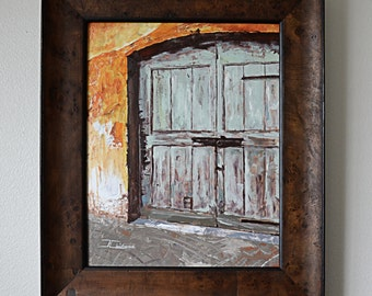 """16"""" x 20"""" Framed Original Oil Fine Art Gallery Painting of the a Mint Door in Switzerland with an Orange Background"""
