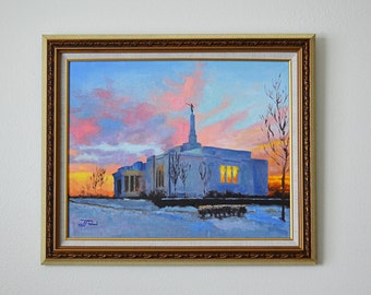 """16"""" x 20"""" Framed Original Oil Fine Art Gallery Painting of the Palmyra Temple in the Winter at Sunset"""