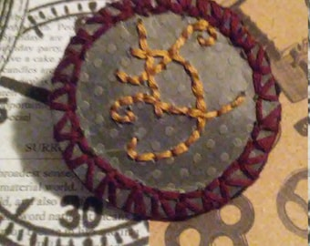 """Embroidered """"Luck"""" Sigil Pin"""