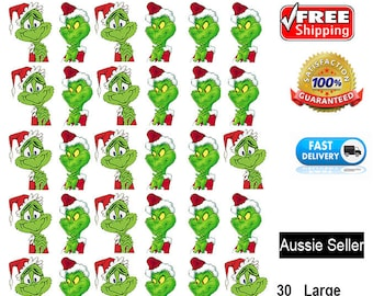 30 pieces The Grinch Christmas Cake cupcake toppers edible image wafer celebrations New Year Santa Claus gift Custom Photo Image decorations