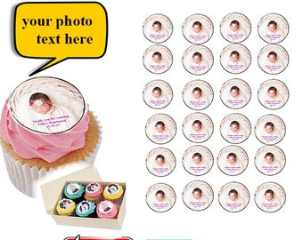 30 Personalised  Cake cupcake toppers edible image wafer Birthday celebrations wedding gifts Hens Custom Photo Image Custom Made decorations