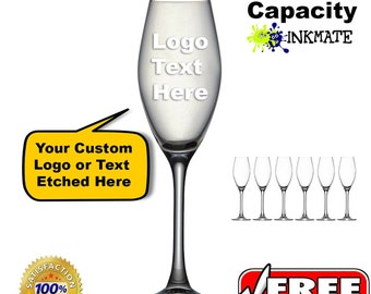 Personalised Wine Glass Champagne Logo Etched Text Custom Birthday Wedding Event Gift Christmas Party Reunion Drinks Bar Dining Home