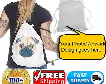 Personalised Print Photo Artwork Text Customised 100% Cotton White Drawstring Bag Gym Sport School Shoe BackPack Sackpack CALICO Handbag