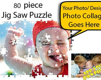 80 pieces Personalised Jigsaw Puzzle Custom Photo Birthday Celebration Wedding Gift Christmas Gift Sports Club Toy for Kids Play Ideas