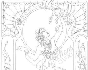 """Printable Colouring Page """"Poppies and Peridot"""""""