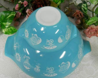 PYREX 1958 Turquoise Bowls #441 and #444 Hot Air Balloon Turquoise Bowls for Chip and Dip Set