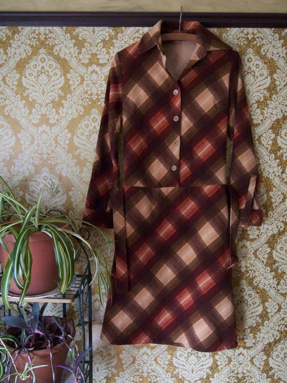 Vintage 1960s Drop Waist Shirt Dress