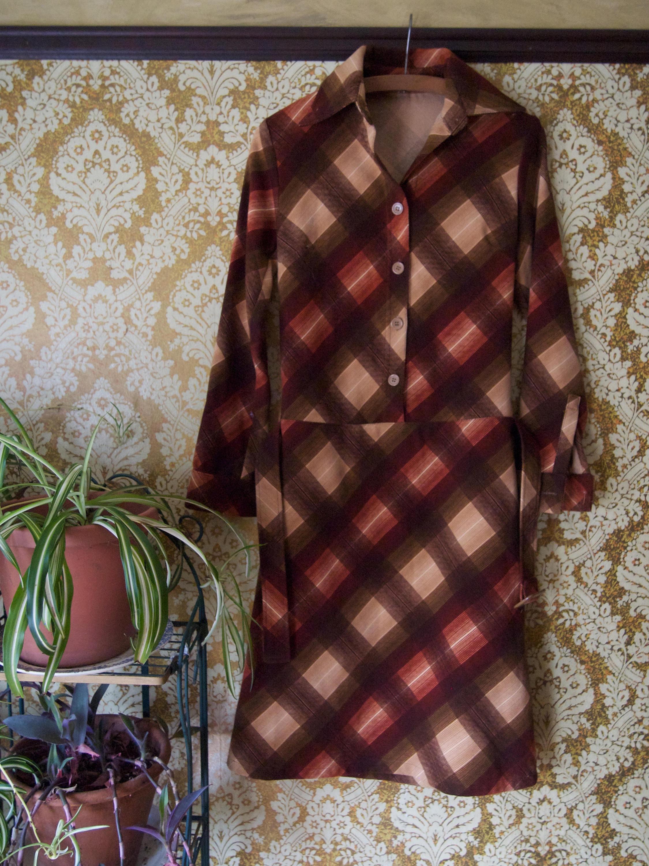Vintage 1960s Drop Waist Shirt Dress Etsy
