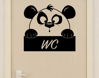 Sticker wall decor cute Panda toilet