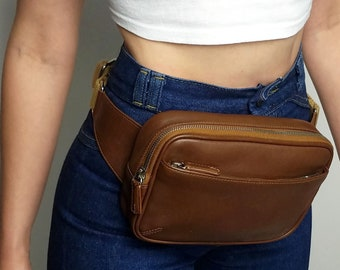 c6cfa1f95 RARE! Coach Brown Tabac Leather Fanny Pack Waist Bag Hip Belt Bag Purse