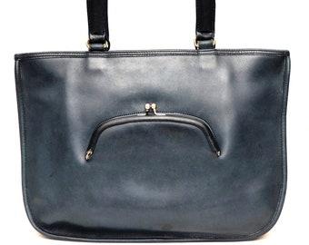 SOLD Coach Vintage Watermelon Tote Bonnie Cashin Kisslock Navy Blue Leather Bag Purse