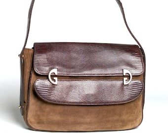 8569a503e Gucci Vintage TWO WAY Britt Bag or Clutch Brown Suede + Lizard Leather