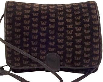 4e8de220a Bottega Veneta Butterfly Crossbody or Clutch Vintage Black Leather + Suede