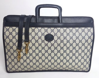 5637f7cd GUCCI Navy Monogram Leather GG Briefcase Travel Bag