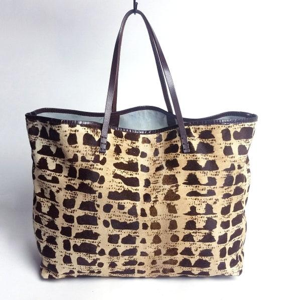 RARE! Fendi LARGE Pony Hair & Leather Tote Bag