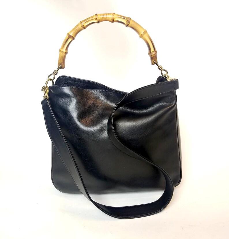 9e8440870c RÉSERVÉ Gucci 2 façon bambou noir besace sacoche sac | Etsy
