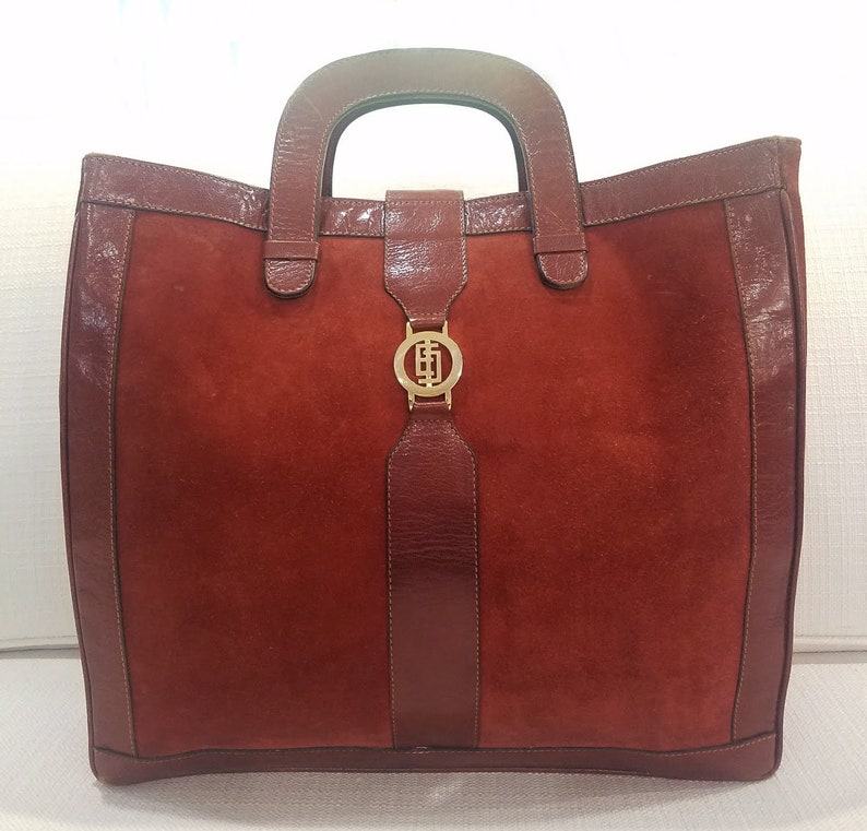 d21619a3c3 HUGE Emilio Pucci Burnt Orange Suede   Leather Vintage Shopper