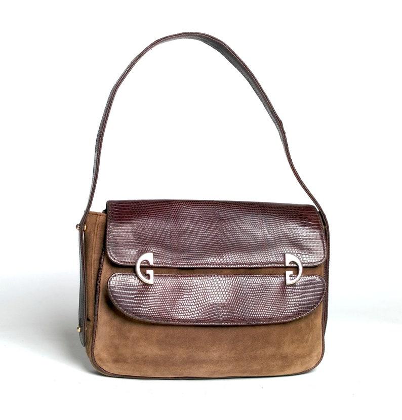 dbe613d4f Gucci Vintage TWO WAY Britt Bag or Clutch Brown Suede Lizard | Etsy