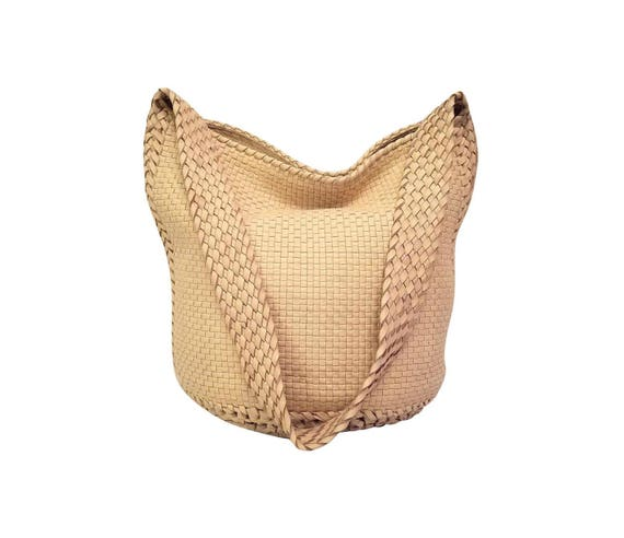 3958eb55f5 NEW Bottega Veneta Intrecciato Cream Leather Hobo Tote Woven