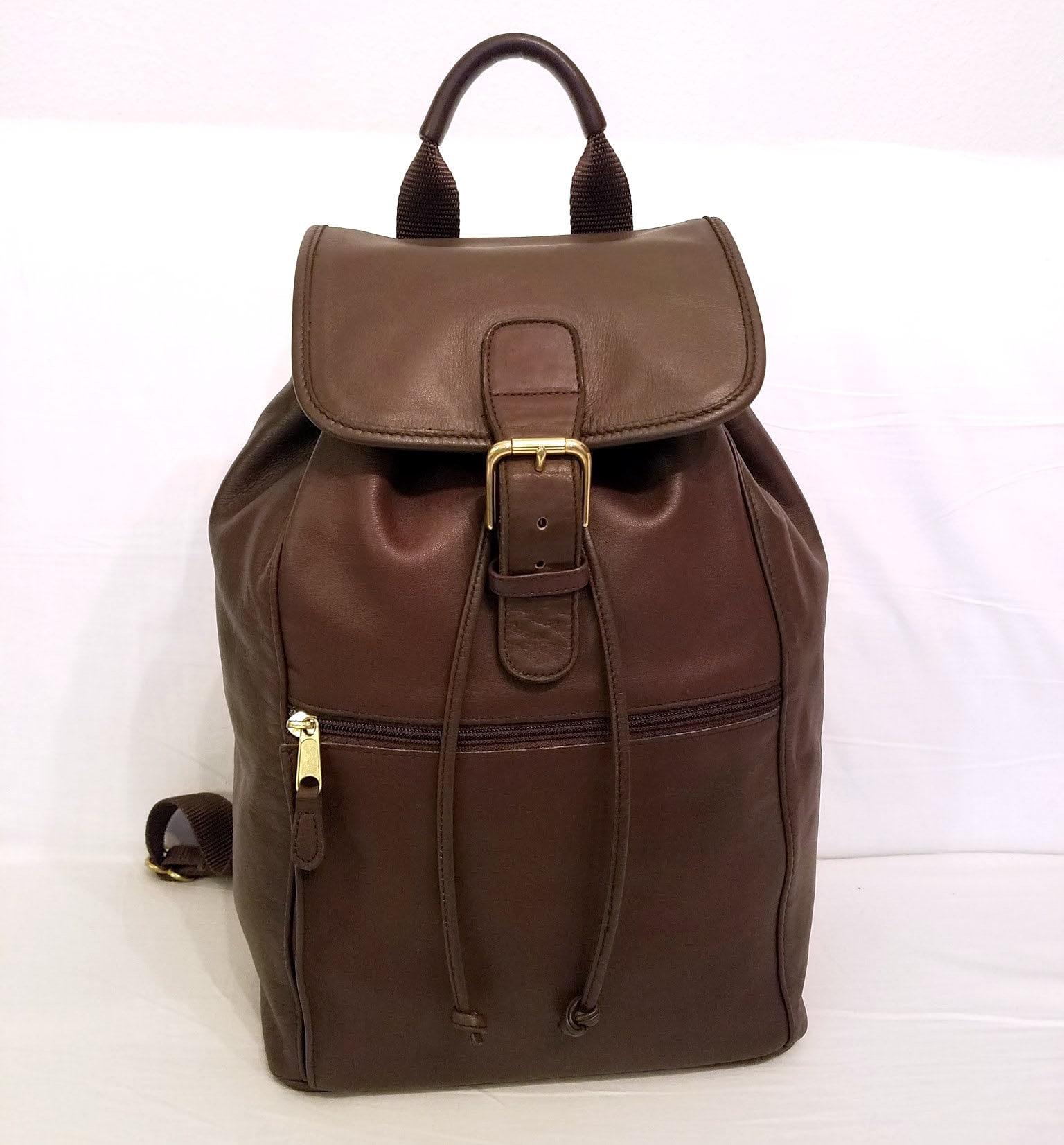 b7a64b7995 HUGE Coach Vintage Backpack Drawstring Brown Leather Bag | Etsy