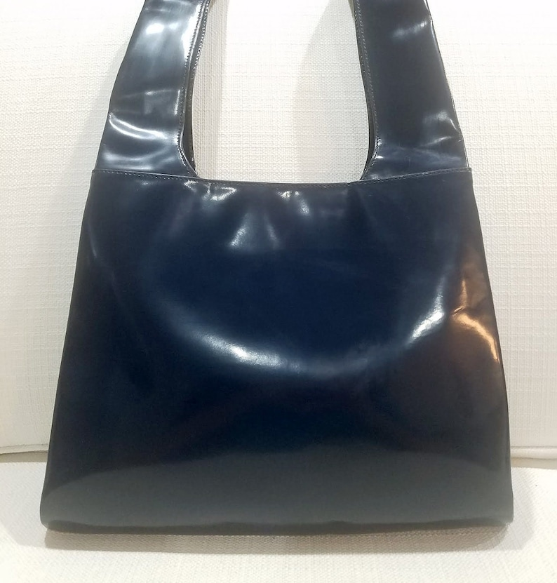 e99a1c2fb1a RARE Tom Ford Gucci Navy Blue Patent Leather Hobo Vintage Bag