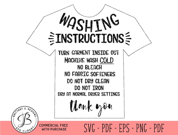 Garment Care Card Svg Htv Wash Instructions Clothing Care Etsy