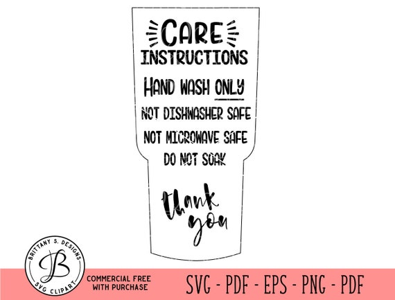 Tumbler Care Instructions Care Card Svg Care Card Cut File