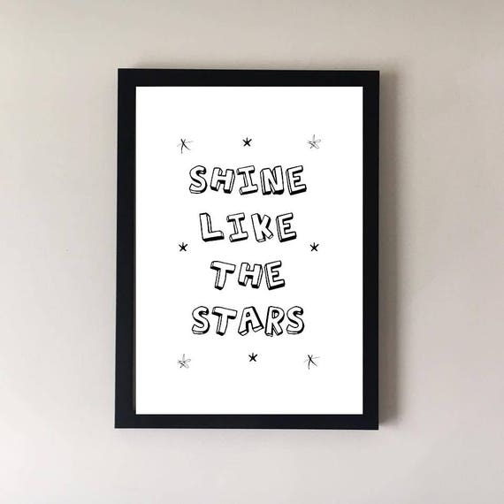 Quote Print Gift Star Print Quote Prints Inspirational Etsy